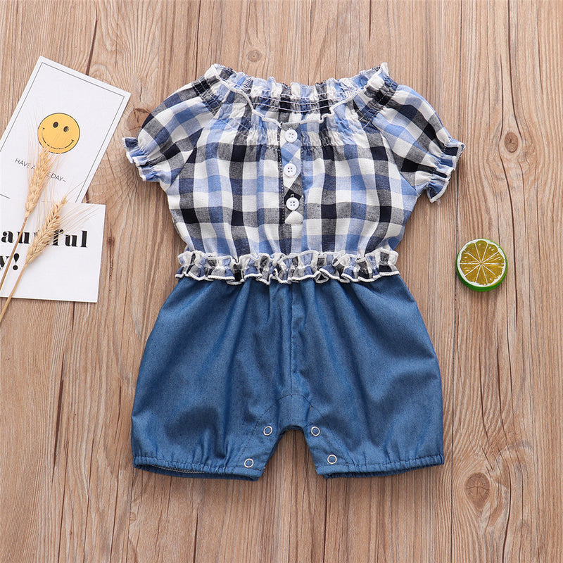 Baby Girls Plaid Short Sleeve Splicing Romper Wholesale Baby Clothes