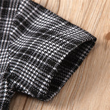 Girls Plaid Short Sleeve Top Crew Neck Top & Skirt Kids Wholesale Clothing