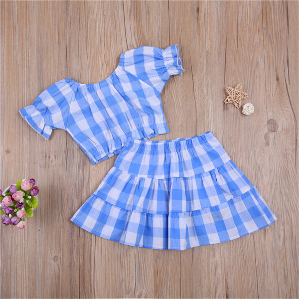 Girls Plaid Short Sleeve Top & Bow Skirt bulk childrens clothing suppliers
