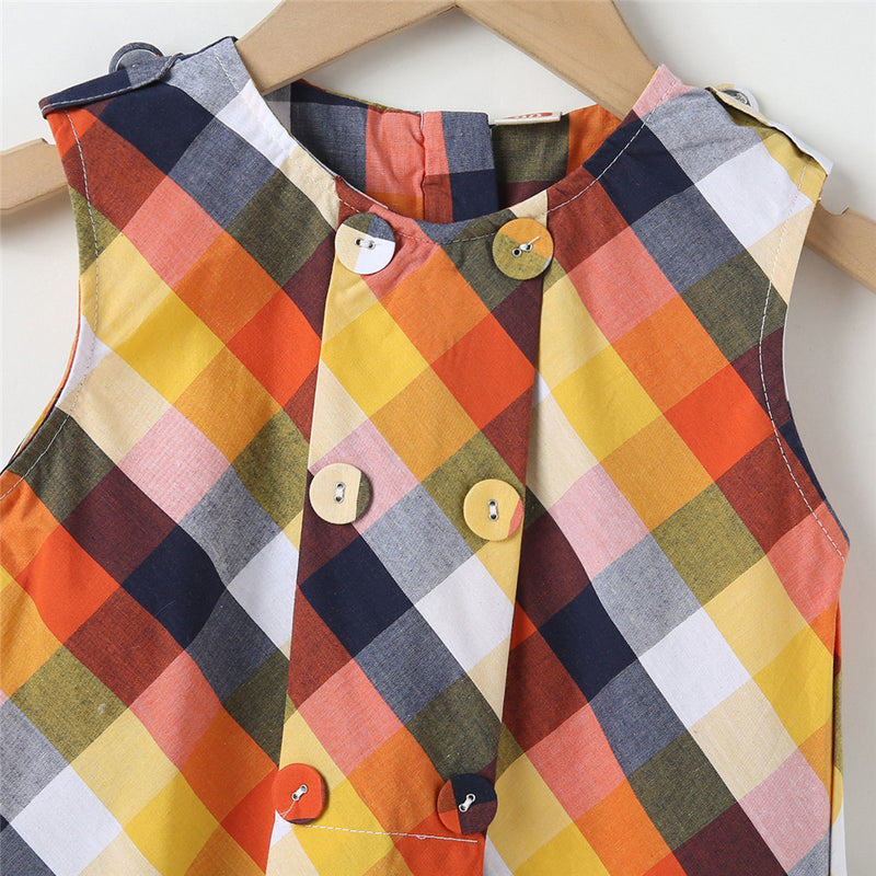 Girls Plaid Sleeveless Button Dresses childrens wholesale clothing