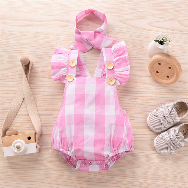 Baby Girls Plaid Sleeveless Button Romper & Headband Spanish Baby Clothes Wholesale