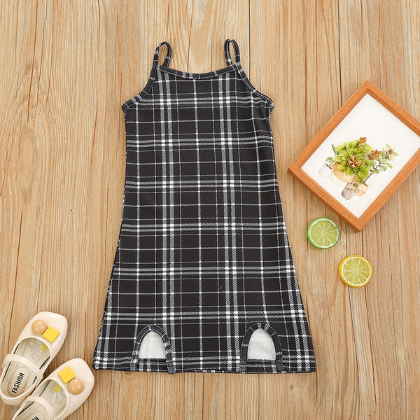 Girls Plaid Sleeveless Suspender Dresses wholesale kids boutique clothing
