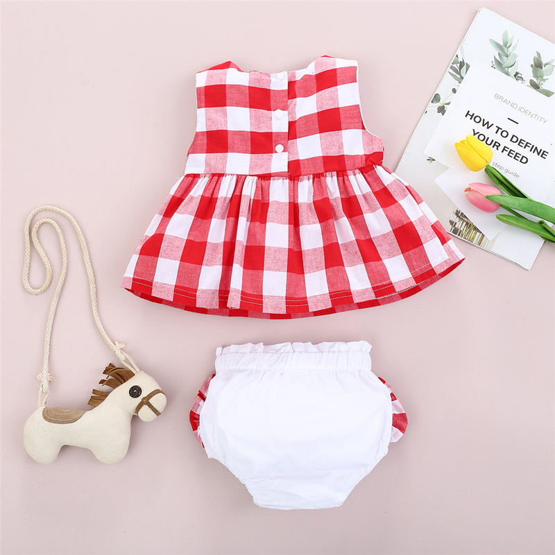 Baby Girls Plaid Sleeveless Top & Shorts bulk baby clothes