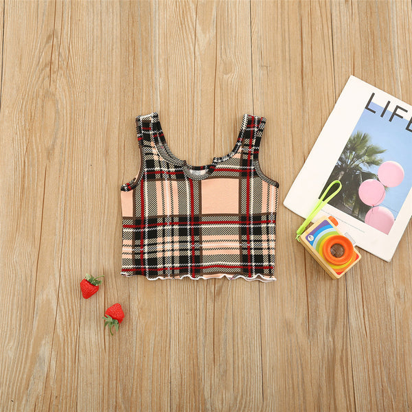 Girls Plaid Sling Top Wholesale Little Girl Boutique Clothing