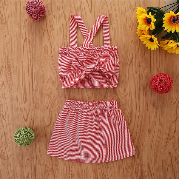 Girls Striped Sling Top & Button Skirt wholesale kids clothing