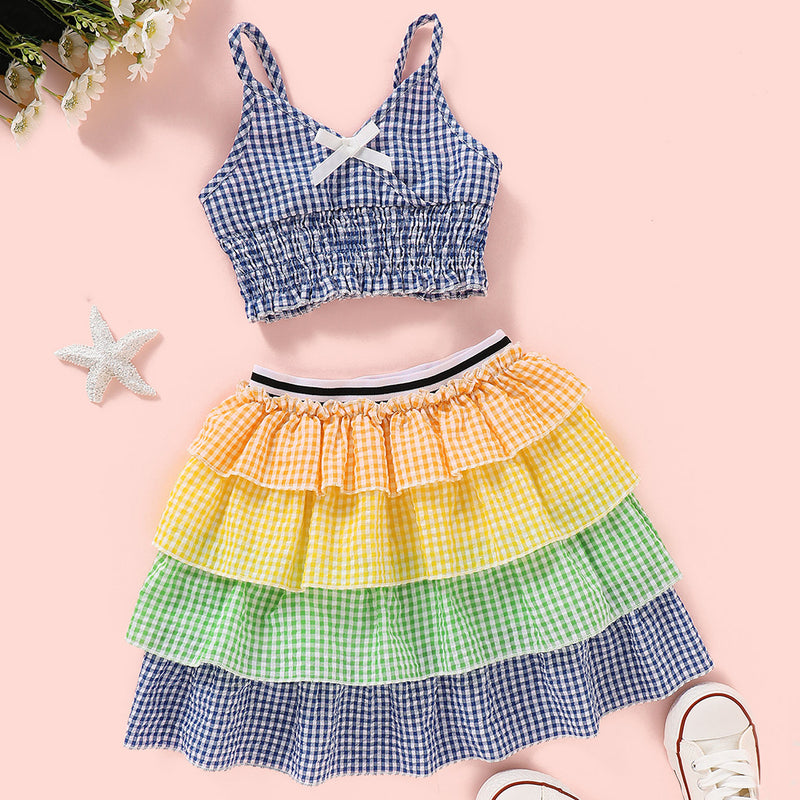 Girls Plaid Sling Top & Colorful Layered Skirt Wholesale Little Girl Clothing
