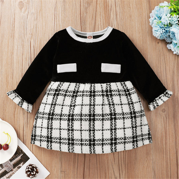 Baby Girls Plaid Splicing Long Sleeve Dress Baby Clothes Wholesale Suppliers