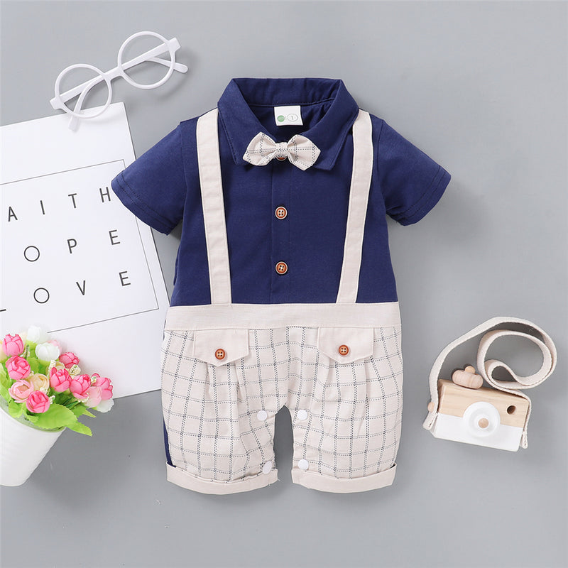 Baby Boys Plaid Splicing Short Sleeve Lapel Romper Baby Rompers Wholesale