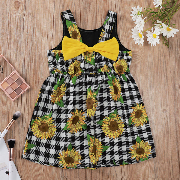 Girls Plaid Sunflower Printed Lovely Suspender Dress kids wholesale clothing