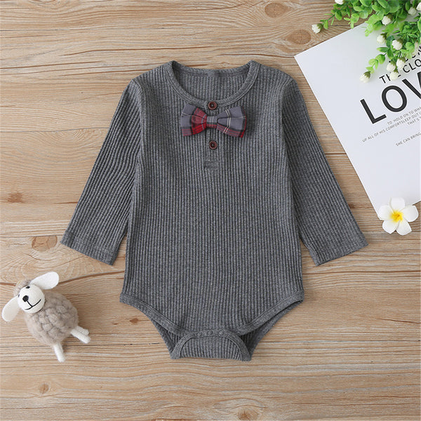 Baby Boys Plaid Tie Long Sleeve Solid Color Romper Babywear Wholesale