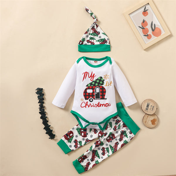 Baby Boys Plaid Truck Printed Christmas Romper & Pants & Hat Baby Clothing Wholesale