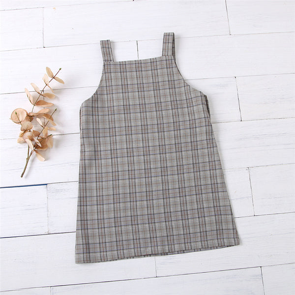 Girls Plaid Vintage Tank Dress Wholesale Baby Girl Boutique Clothing