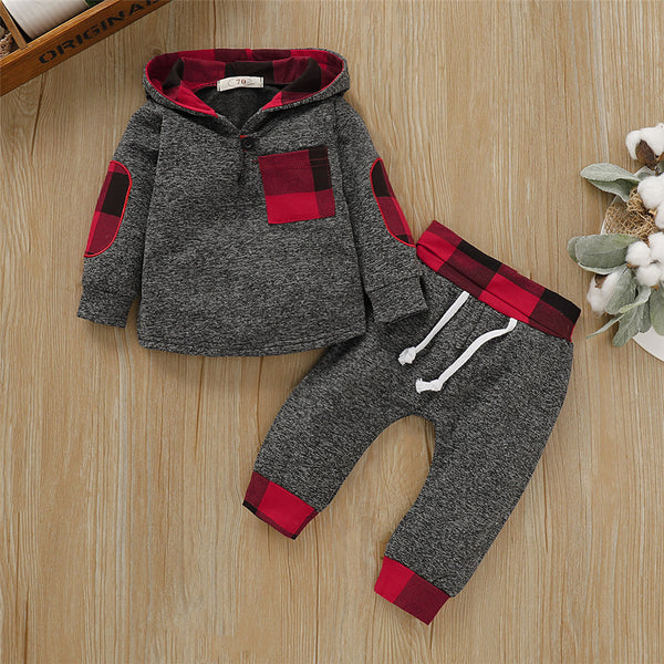 Baby Boys Plaid Warm Hooded Long Sleeve Top & Pants Baby Boutique Wholesale