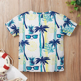 Boys Plant Sunglasses Printed Short Sleeve Top Wholesale Kids Clothing Distributors