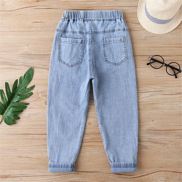 Girls Pleated Solid Color Pocket Casual Jeans quality children's clothing wholesale