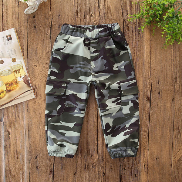 Boys Pocket Camo Casual Pants Boys Wholesale Clothing