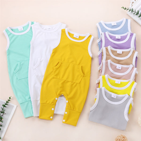Baby Unisex Pocket Color Block Sleeveless Romper Wholesale Baby Outfits