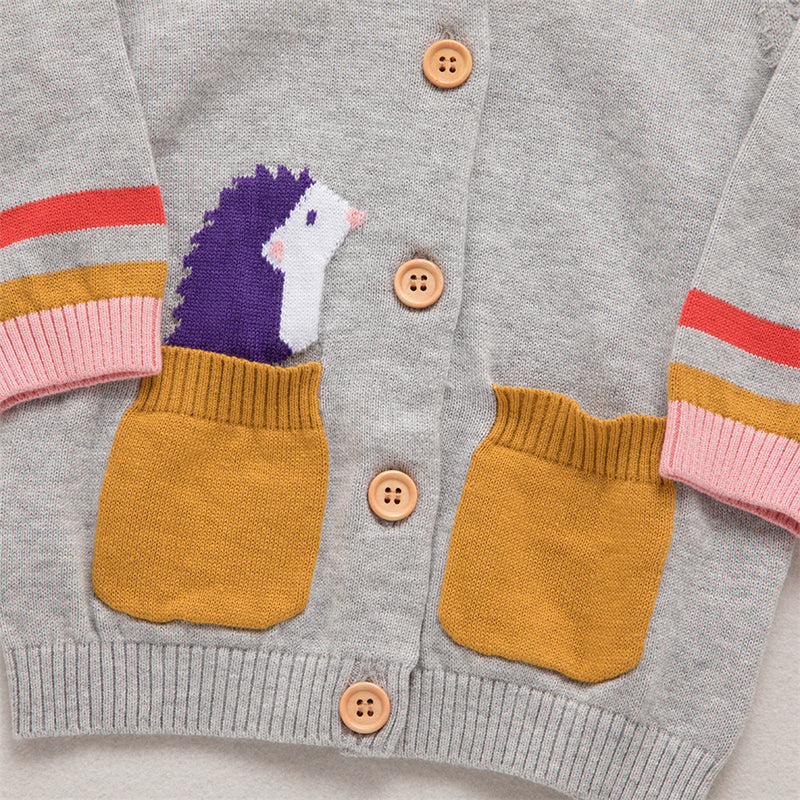 Girls 4PCS Pocket Hedgehog Embroidered Long Sleeve Sweaters