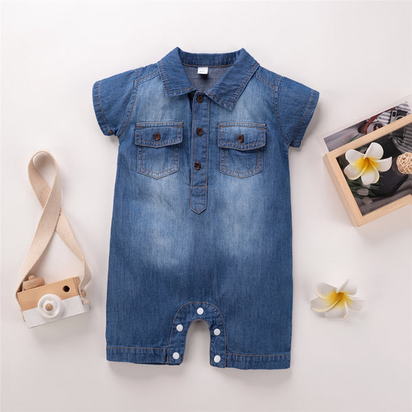 Baby Unisex Pocket Lapel Short Sleeve Denim Romper Baby Summer Clothes