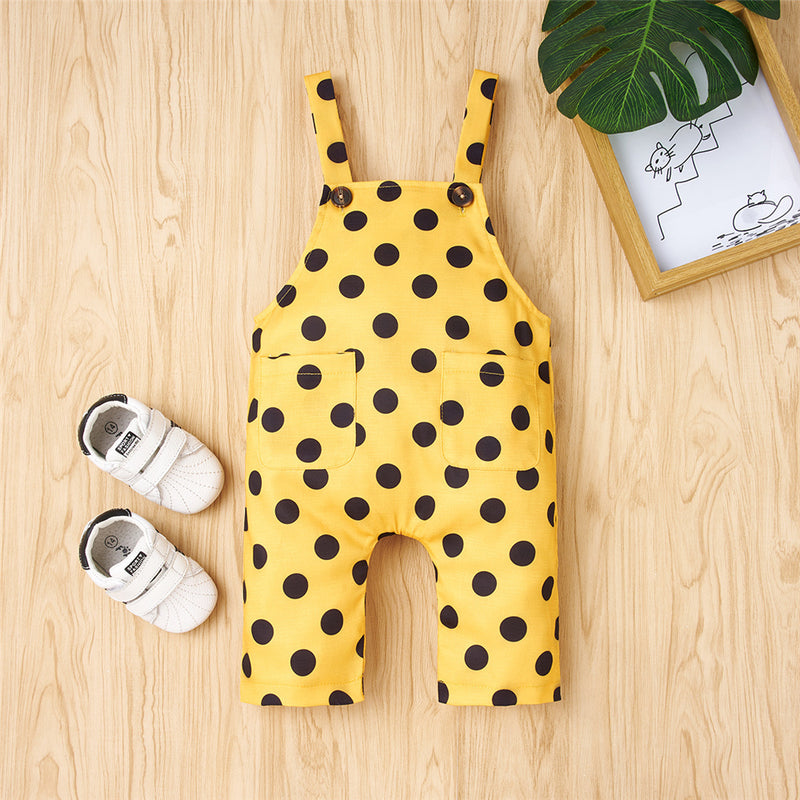 Baby Unisex Pocket Polka Dot Printed Overalls Wholesale Baby Boutique Items