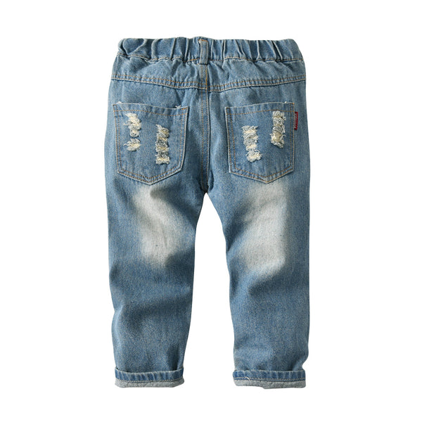 Boys Pocket Ripped Solid Denim Trousers Wholesale