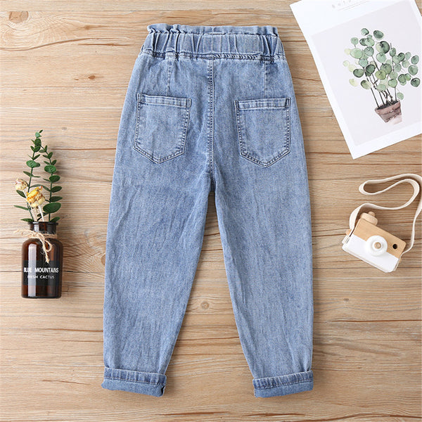 Unisex Pocket Solid Color All Season Jeans wholesale childrens clothing vendors