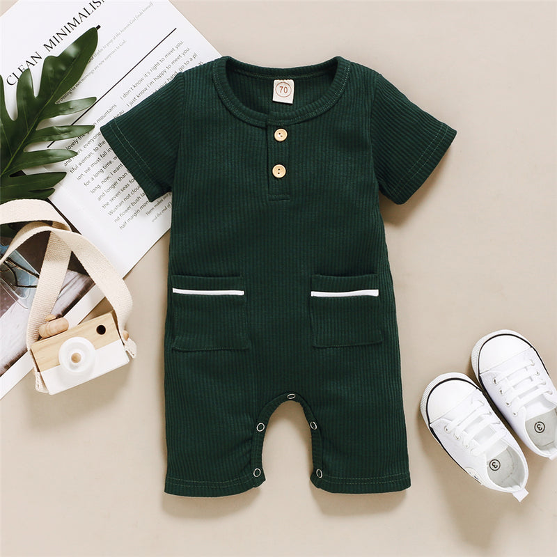 Baby Unisex Pocket Solid Color Short Sleeve Romper Baby Clothes Wholesale Supplier