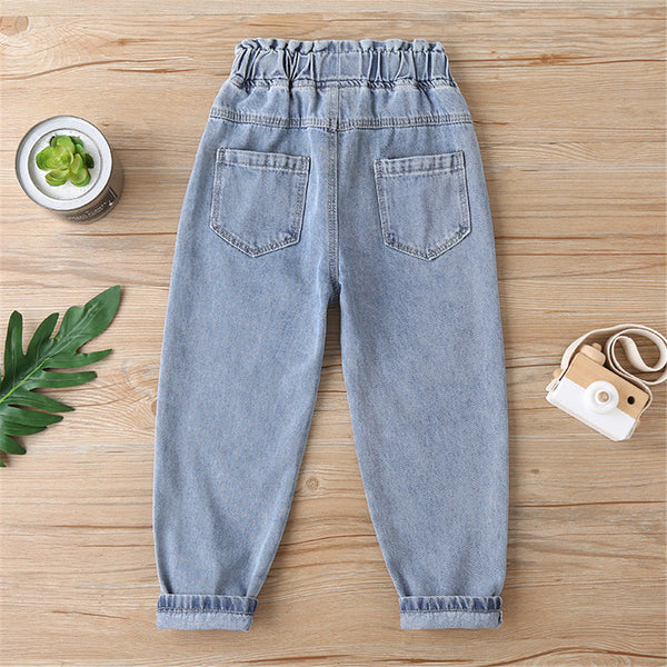 Unisex Pockets Solid Color Ripped Jeans childrens wholesale vendors