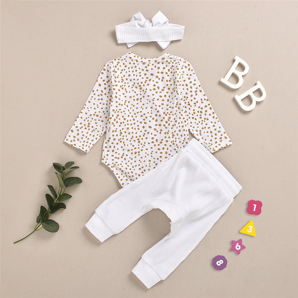 Baby Girls Polka Dot Cardigan Romper & Pants Cheap Boutique Baby Clothes