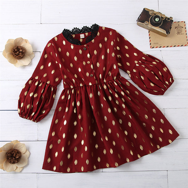 Girls Polka Dot Flared Sleeve Printed Dress Wholesale Boutique Girl Clothing