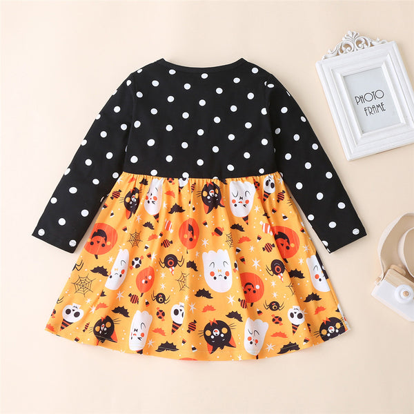 Girls Polka Dot Halloween Pumpkin Printed Dress Wholesale Girls Clothes