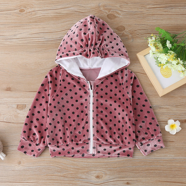 Toddler Girls Polka Dot Hooded Long Sleeve Jacket Wholesale Girls