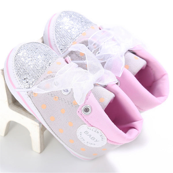 Baby Girls Polka Dot Lace Up Sequins Sneakers Childrens Wholesale Shoes
