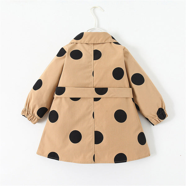 Girls Polka Dot Lapel Button Long Sleeve Belt Coat Wholesale Girl Clothing