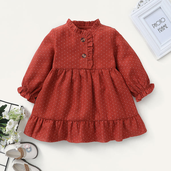 Baby Girls Polka Dot Long Sleeve Button Dress Boutique Baby Clothes Wholesale