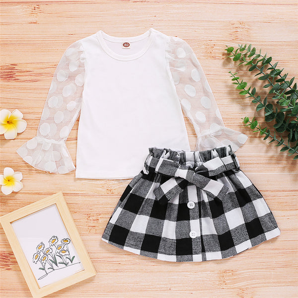 Girls Polka Dot Mesh Sleeve Solid Color Top & Plaid Skirt Wholesale Childrens Clothing