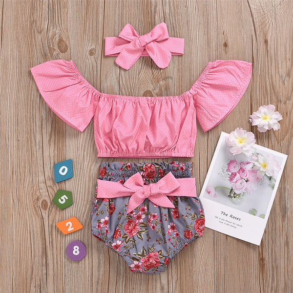 Baby Girls Polka Dot Off Shoulder Top & Floral Shorts & Headband baby wholesale