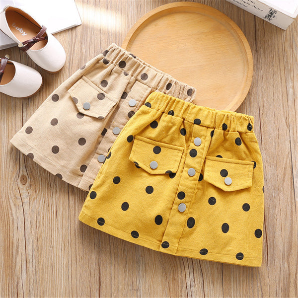 Girls Polka Dot Pocket Elastic Waist Skirt trendy kids wholesale clothing