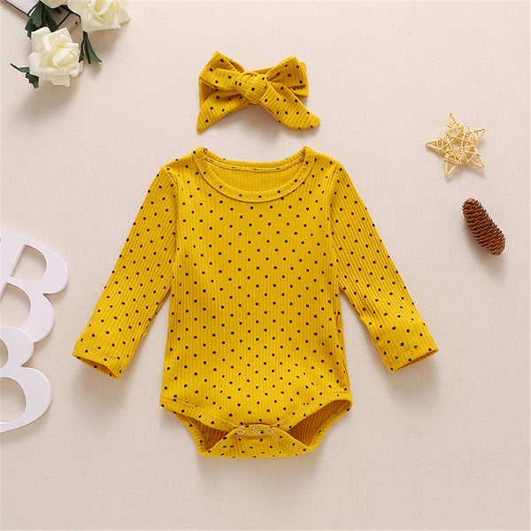 Baby Girls Polka Dot Print Long Sleeve Romper & Headband Baby Outfits