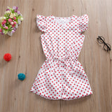 Girls Polka Dot Printed Short Sleeve Jumpsuit Girls Clothing Wholesalers
