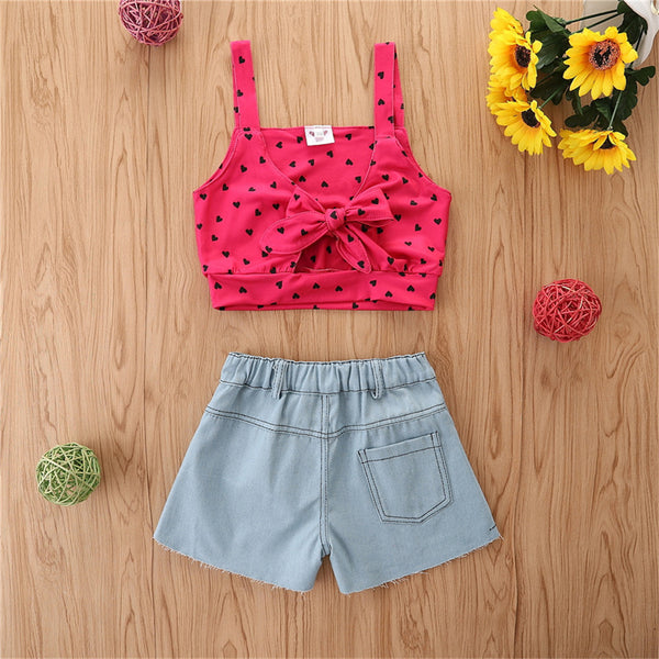 Girls Polka Dot Printed Sling Top & Solid Denim Shorts Girls Clothing Wholesale