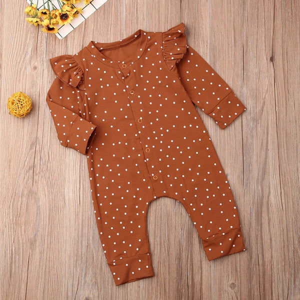 Baby Girls Polka Dot Ruffle Casual Romeprs
