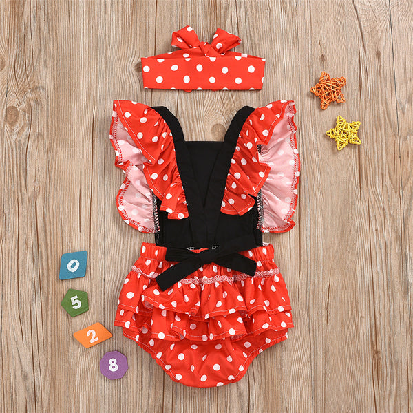 Baby Girls Polka Dot Ruffled Romper & Headband wholesale baby clothes