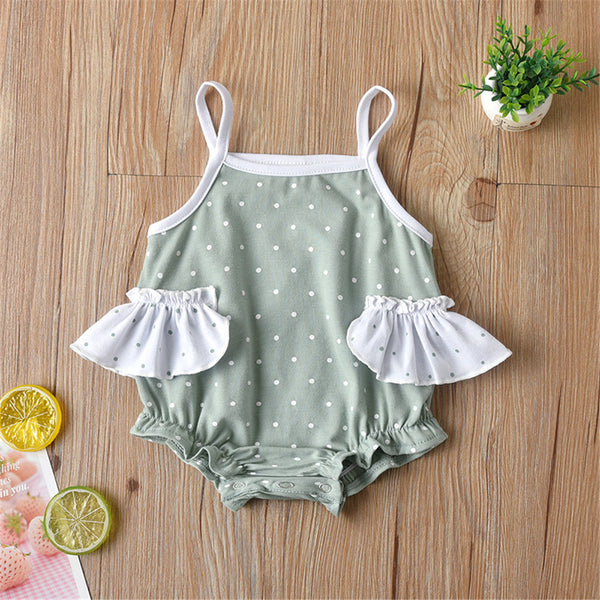 Baby Girls Polka Dot Ruffled Sling Romper Wholesale Baby Clothes