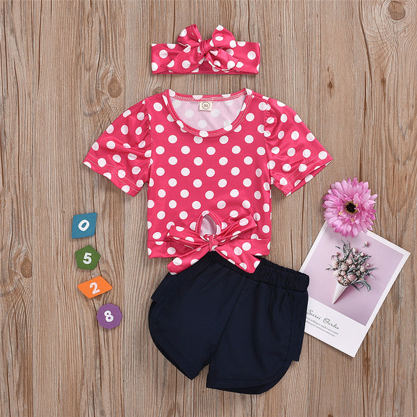 Girls Polka Dot Short Sleeve Top & Shorts & Headband girl wholesale boutique clothing