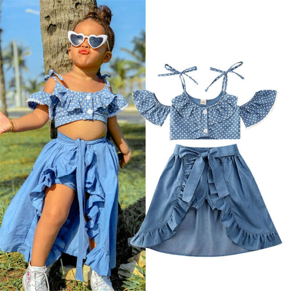Girls Polka Dot Short Sleeve Top & Skirt & Shorts baby clothes wholesale usa
