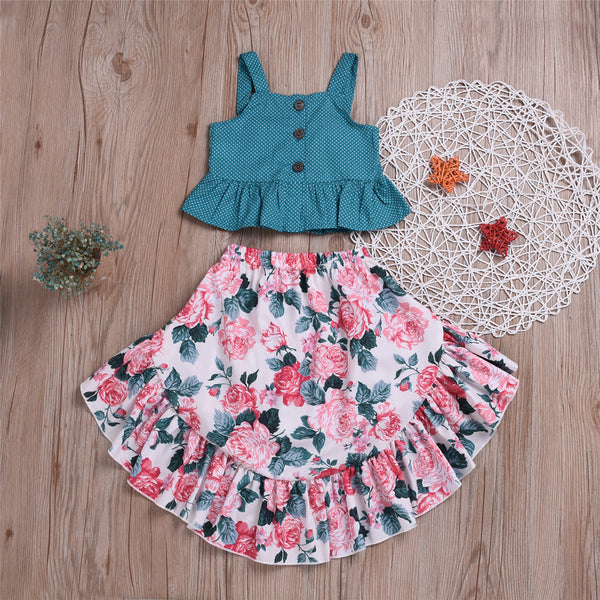 Girls Polka Dot Sleeveless Button Top & Floral Printed Skirt Toddler Girls Wholesale