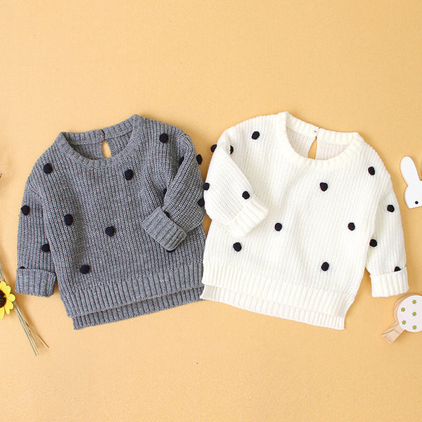 Baby Girls Polka Dot Solid Sweaters Baby Clothing Wholesale Distributors