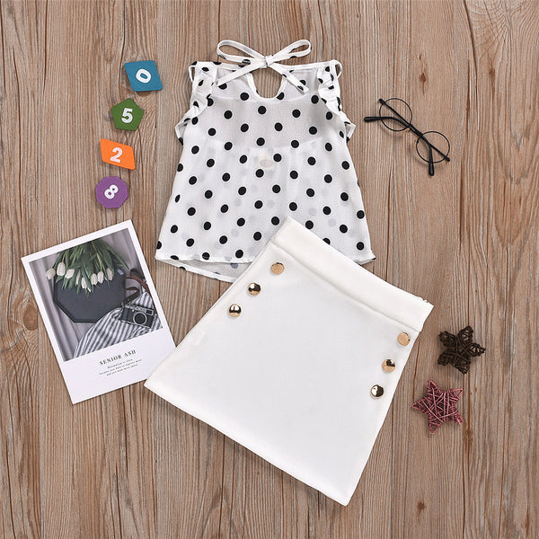 Girls Polka Dot Tie Up Top & Skirt bulk childrens clothing suppliers