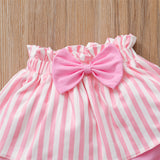 Baby Girl Power Printed Short Sleeve Romper & Stripe Skirt & Headband Baby Clothes Cheap Wholesale